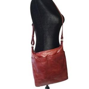 Red Leather Danier Crossbody Shoulder Bag